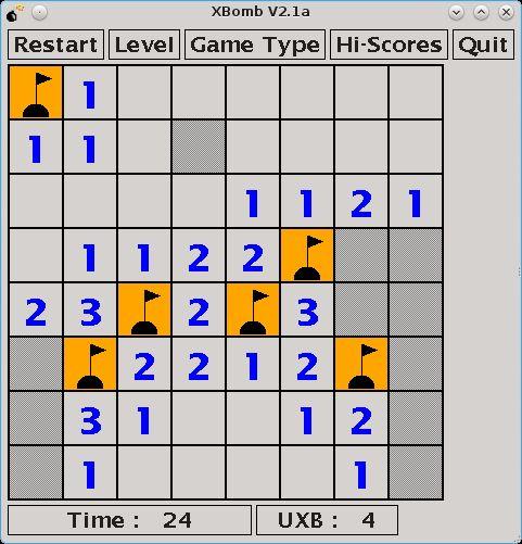 xbomb — игра «тральщик» с квадратами, шестиугольниками или треугольниками
