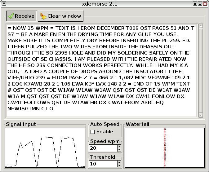 xdemorse — декодировать сигналы Морзе на текст