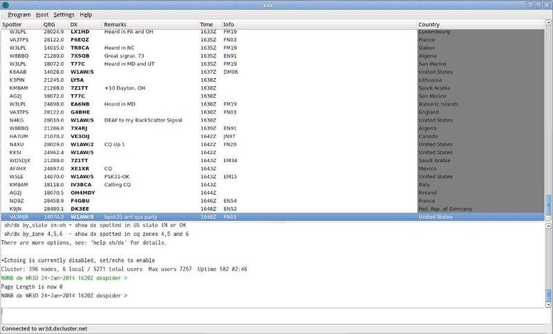 xdx — DX-cluster tcp/ip клиент для любительского радио