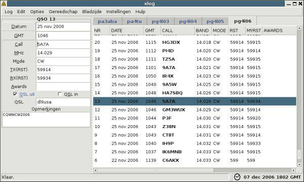 xlog — Программа GTK+ Logging для операторов Hamradio