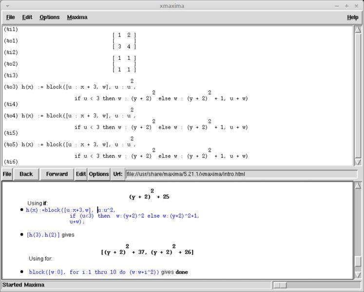 xmaxima — Система компьютерной алгебры - x интерфейс