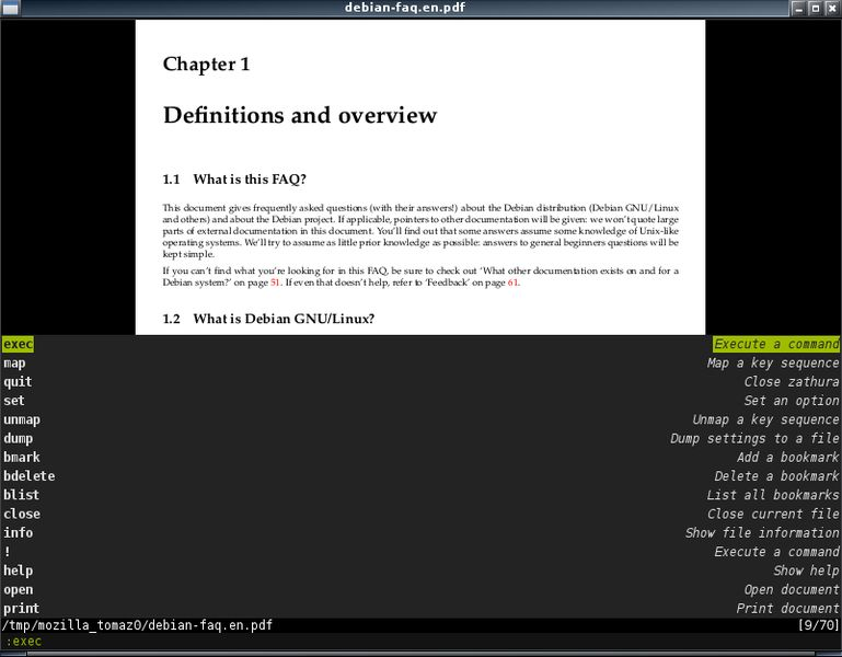 zathura — просмотрщик документов с минималистическим интерфейсом