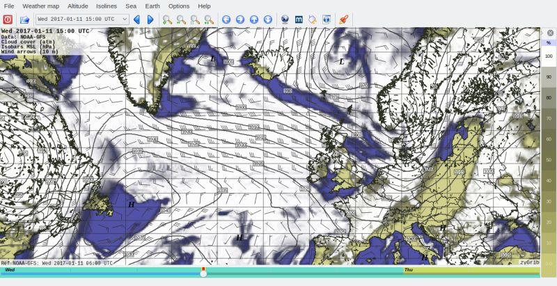 zygrib — Визуализация данных о погоде, просмотрщик файлов GRIB