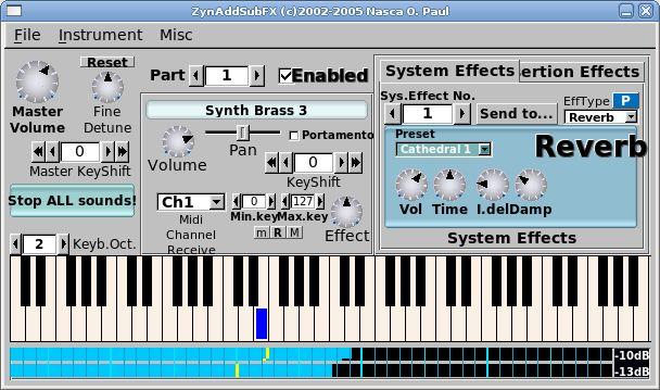 zynaddsubfx — Синтезатор программного обеспечения реального времени для Linux