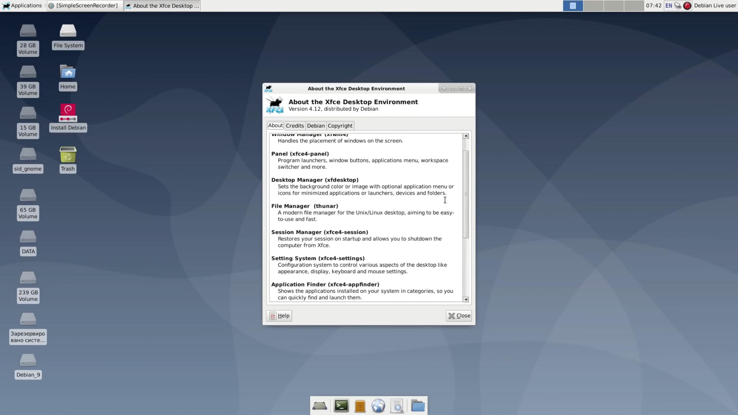 Debian 10 «buster» Xfce